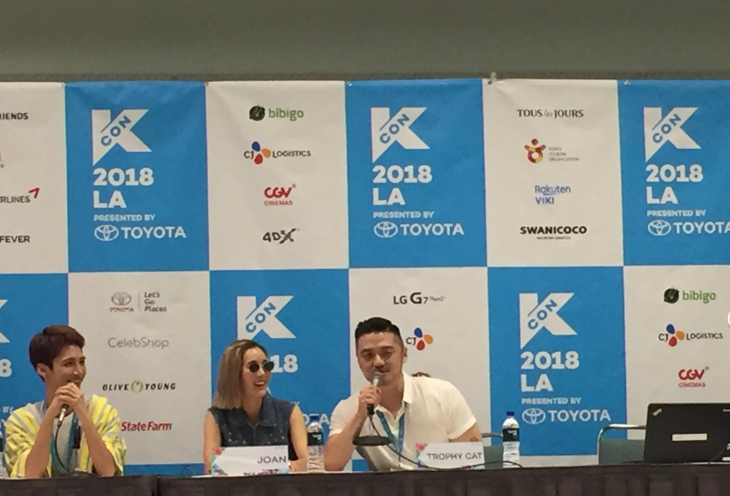 KCON L.A. Panel Session Experience, L-R ~ Edward Avila, Joan Kim, Trophy Cat