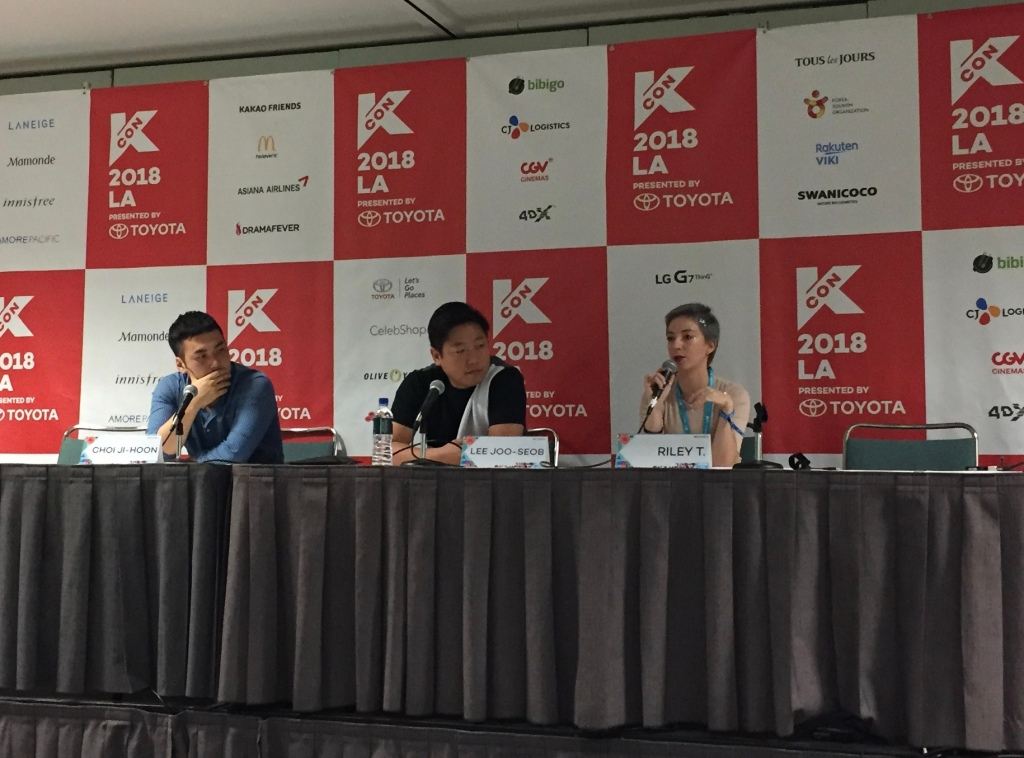 KCON L.A. Panel Session Experience, L-R ~ Choi Ji-Hoon, Lee Joo-Seob, and Moderator Riley T.